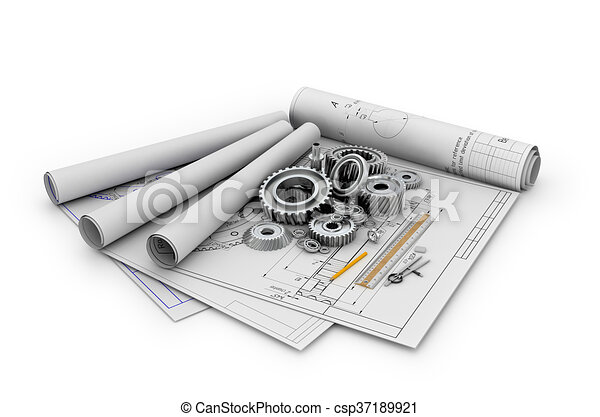 A set of gears and bearings lying on posters with blueprints.3d illustration - csp37189921