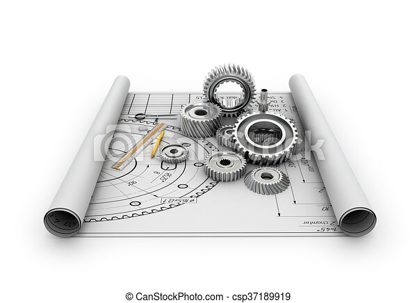 A set of gears and bearings lying on posters with blueprints - csp37189919