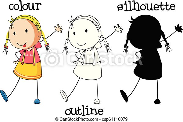 A set of girl with different graphic design - csp61110079