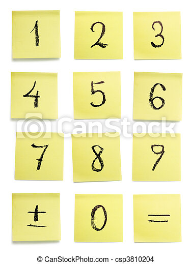 A set of handwritten characters on yellow sticky pieces of paper. Isolated on white background,. - csp3810204