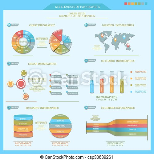 a set of important objects of infographics for your design - csp30839261