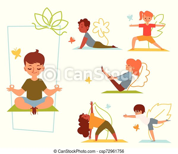 A Set Of Kids And Children Doing Yoga In Various Poses And Stretching Or Fitness Exercises On Mat Kids Girls And Boys Do