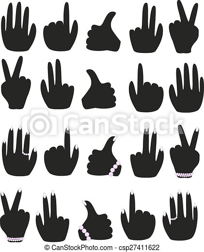 A set of male and female hands with different gestures - csp27411622