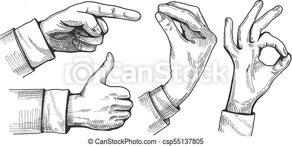 a set of male hand gestures - csp55137805