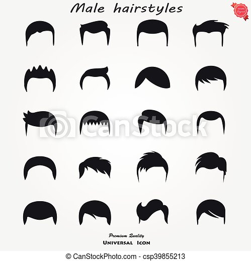 A set of mens hairstyles. Set different man hairs styling ... Men Hair Clipart