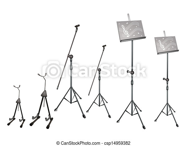A Set Of Music Stand Microphone Stand And Guitar Stand Music