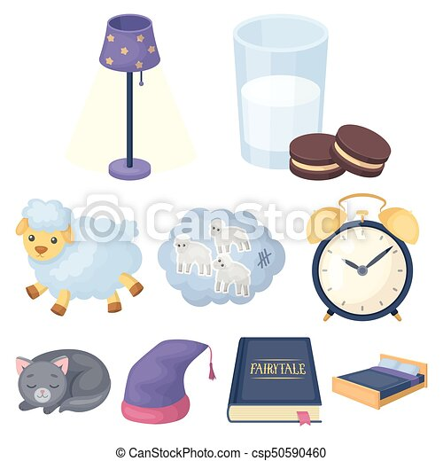 A set of pictures on a theme a dream, rest. Bed accessories for rest.Sleep and rest icon in set collection on cartoon style vector symbol stock illustration. - csp50590460
