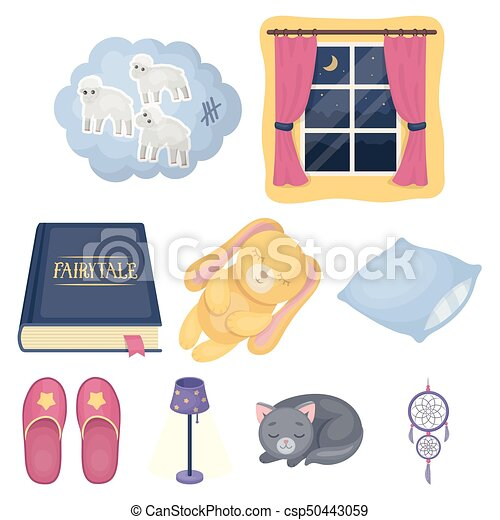 A set of pictures on a theme a dream, rest. Bed accessories for rest.Sleep and rest icon in set collection on cartoon style vector symbol stock illustration. - csp50443059
