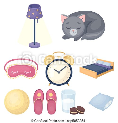 A set of pictures on a theme a dream, rest. Bed accessories for rest.Sleep and rest icon in set collection on cartoon style vector symbol stock illustration. - csp50533541