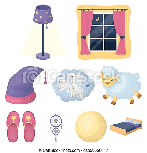 A set of pictures on a theme a dream, rest. Bed accessories for rest.Sleep and rest icon in set collection on cartoon style vector symbol stock illustration. - csp50556017