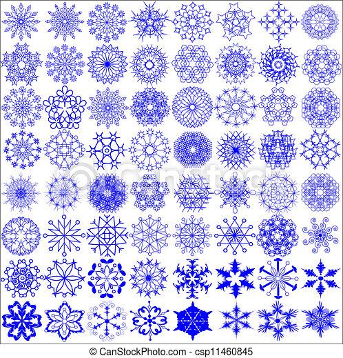 a set of snowflakes on the white - csp11460845
