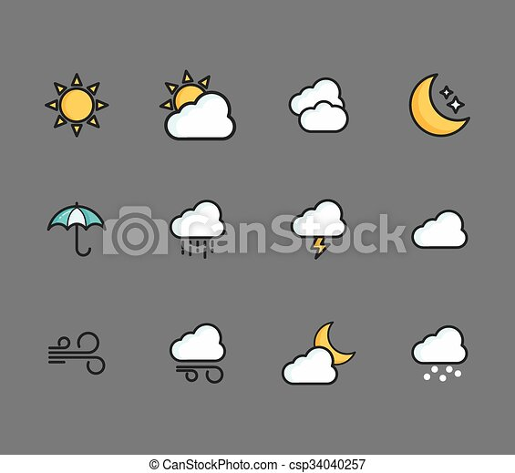 A set of weather icons - csp34040257