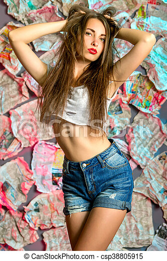 A Sexy Girl In Denim Shorts Csp38805915
