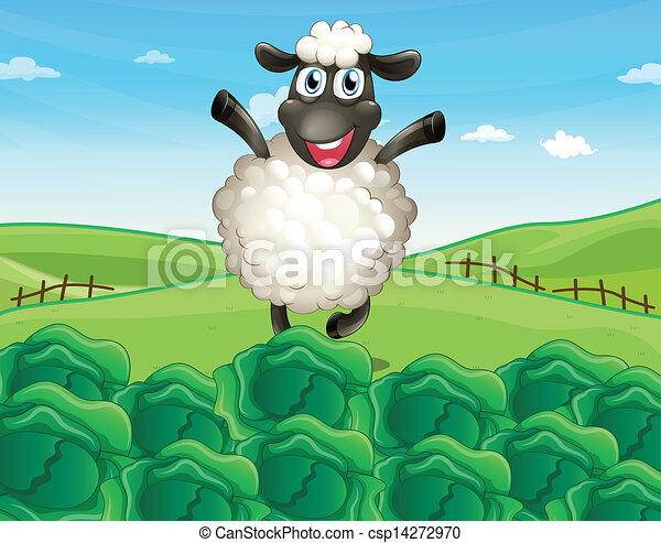 A sheep above the hill with a farm - csp14272970
