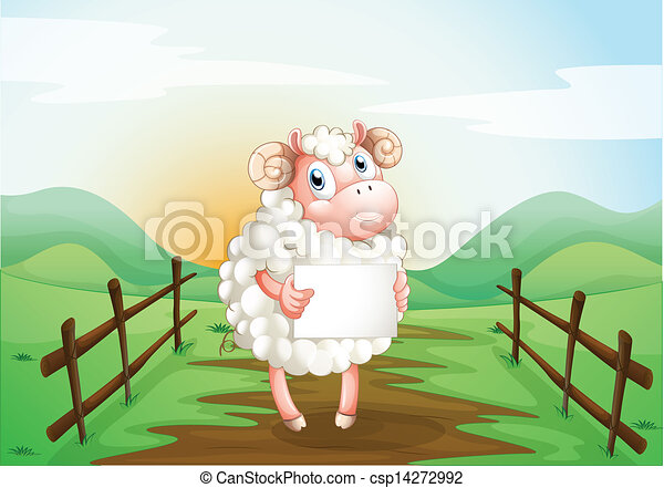 A sheep holding an empty signage inside the wooden fence - csp14272992