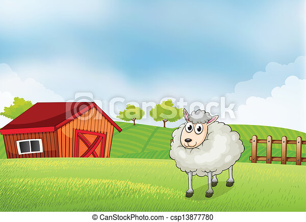 A Sheep In The Farm With Barn And Wooden Fence At Back