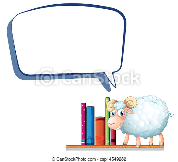 A sheep in the library with an empty callout - csp14549282