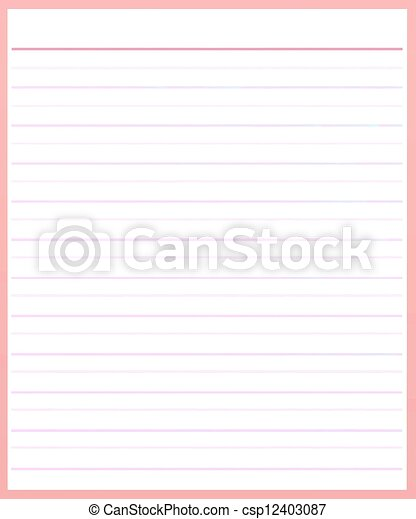 A Sheet Of Pink Color Lined Paper Stock Illustration  Color Lined Paper