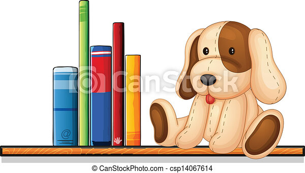 A shelf with books and a toy - csp14067614