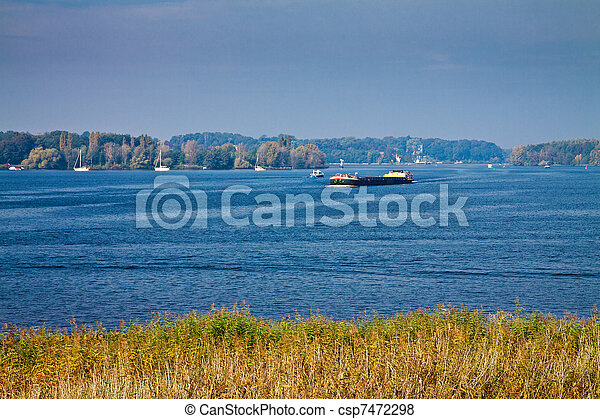 A ship on the river Havel in Germany. - csp7472298