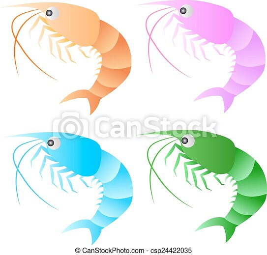 A shrimp isolated on white background. EPS10 vector format. - csp24422035