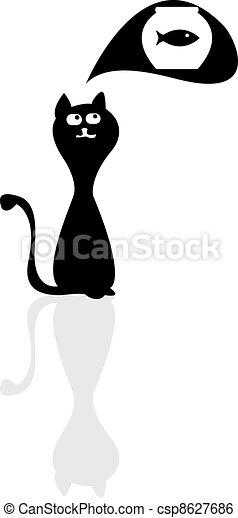 A silhouette of a cartoon cat - csp8627686