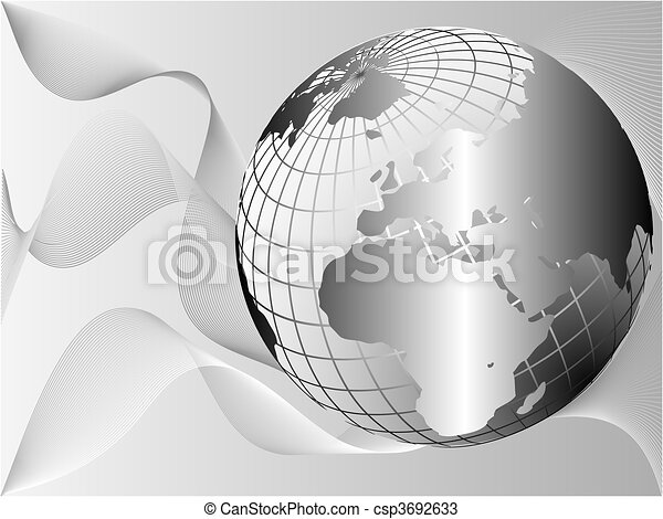A silver metallic earth globe on a lighter background with flowing waves - csp3692633