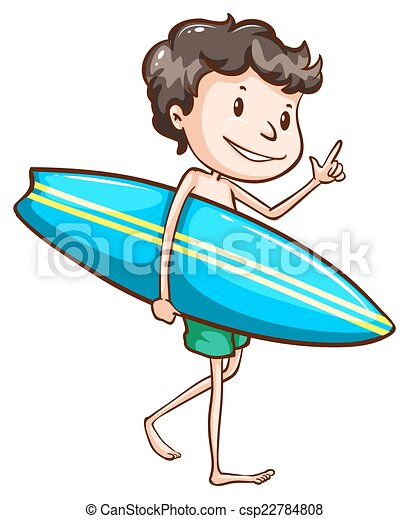 A Simple Drawing Of Boy Going To The Beach With Surfing Boar Vector