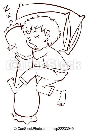 A simple sketch of a boy sleeping soundly - csp22233949