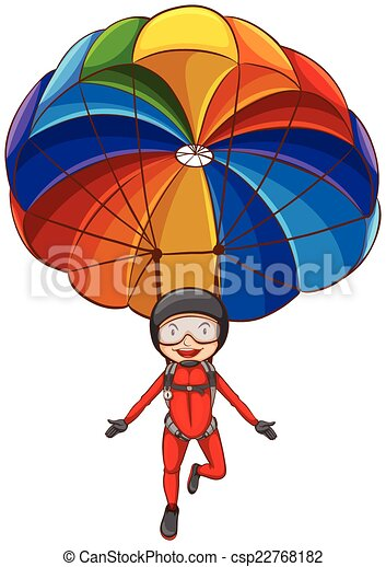 illustration of a simple sketch of a girl with a parachute vector rh canstockphoto com parachute clipart free parachute clipart