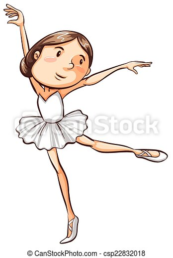 A Simple Sketch Of A Young Ballerina Illustration Of A Simple Sketch Of A Young Ballerina On A White Background