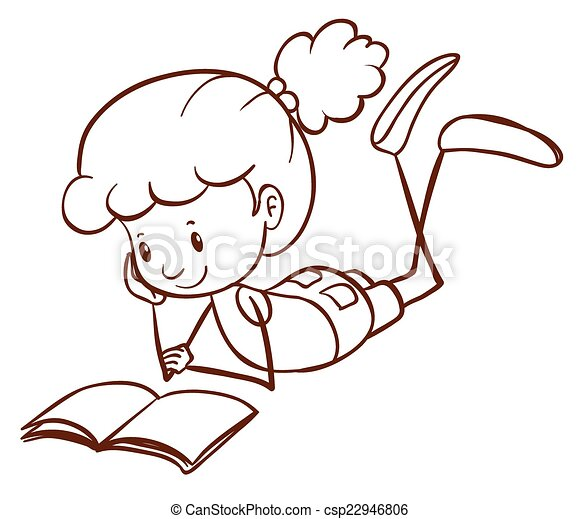 a simple sketch of a young kid reading vector - Simple Drawing For Kid