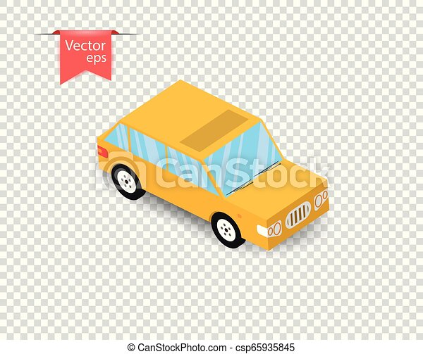 A simple yellow toy car with a shadow. Vector illustration on isolated transparent background. - csp65935845