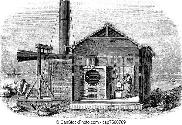 A siren, machine for signal on the coast of the United States Units. - Drawing Jahandier, vintage engraving. - csp7560769