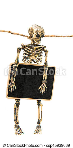 a skeleton with a sign - csp45939089
