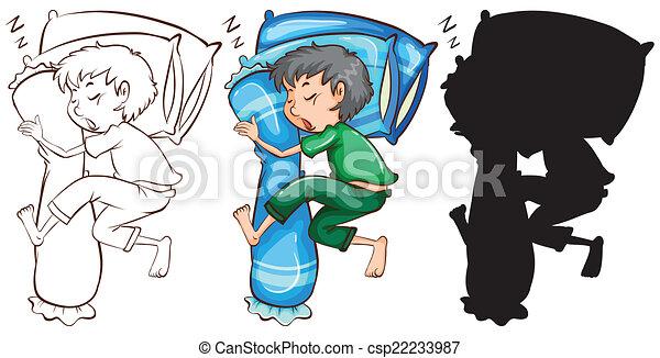 A sketch of a boy sleeping - csp22233987