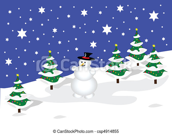 a sky blue christmas scene with a snowman on a snowy clipart rh canstockphoto com snow clip art free snowy clipart free