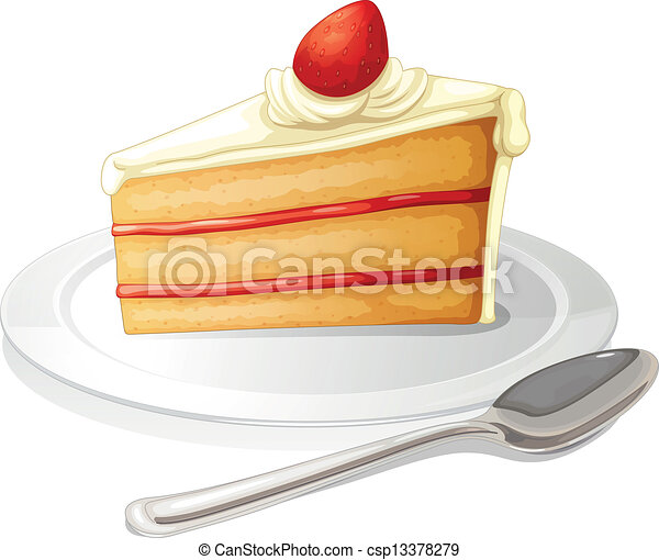 A slice of cake with white icing in a plate - csp13378279  sc 1 st  Can Stock Photo & A slice of cake with white icing in a plate. Illustration of a slice ...