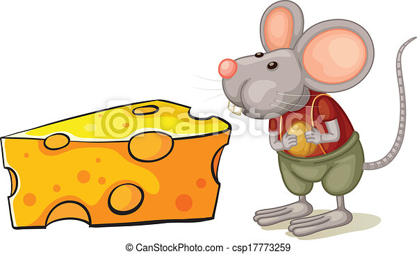 a slice of cheese beside the mouse illustration of a slice of