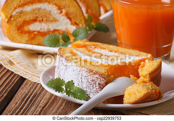 A slice of delicious carrot rolls on a plate, horizontal - csp22939753