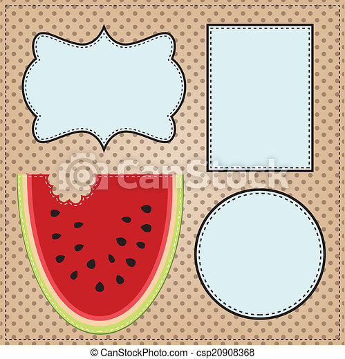 A slice of watermelon, with frames  - csp20908368