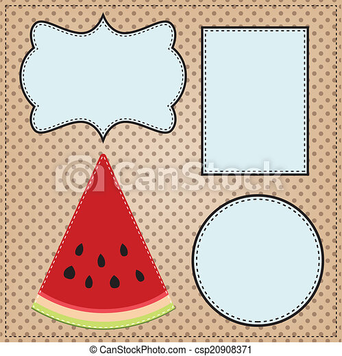 A slice of watermelon, with frames for text  - csp20908371