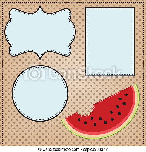 A slice of watermelon, with frames for text - csp20908372
