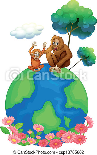 A small and a big orangutan sitting above the planet earth - csp13785682