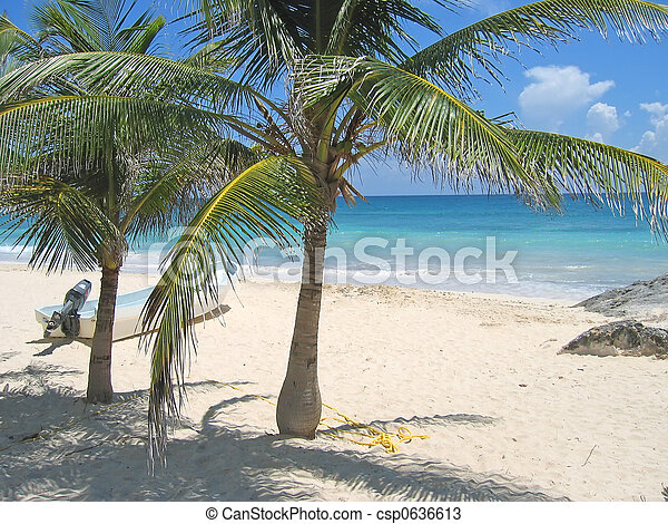 A small boat on a tropical white beach and blue sea with palm tree, Tulum, Mexico - csp0636613