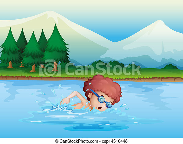 A small boy swimming - csp14510448