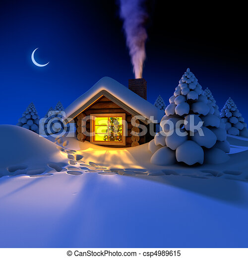 A Small Cottage In The Fairy Forest Snowy New Years Eve Around Hut On Snow Trails Stock Illustration