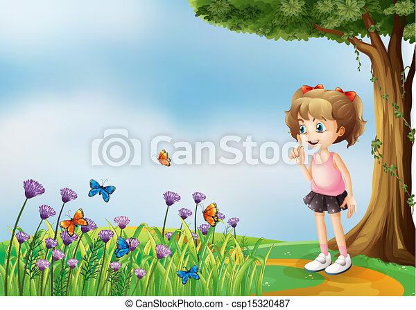 A small girl above the hill with a garden - csp15320487