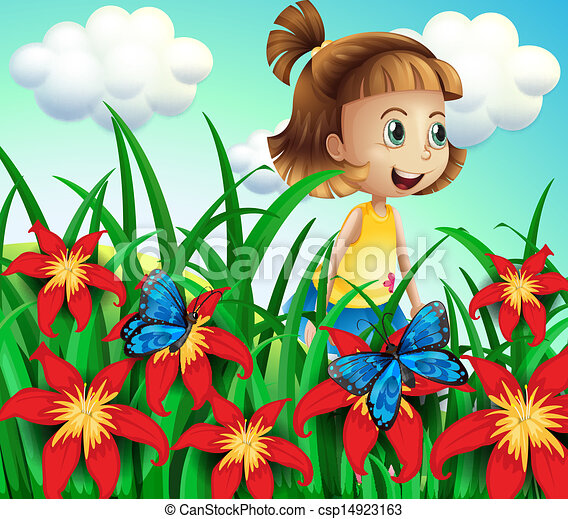 a small girl at the flower garden with butterflies illustration of a small girl at the flower garden with butterflies https www canstockphoto com a small girl at the flower garden with 14923163 html
