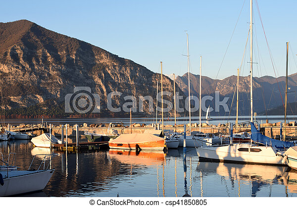 A small marina on Lake Iseo in the province of Brescia - csp41850805